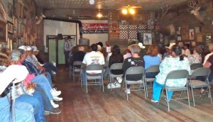Crowd at Jersey Lilly Bar and Cafe, Ingomar, MT September 17, 2011 for Cowcamp Tales - Cowboy Trails