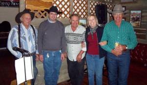 Forsyth Montana Radio KIKC Host Chris Rivera with Owen Badgett, Linda Lou Crosby, and singer Sonny Buckalew