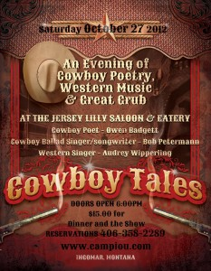 Cowboy Tales Poster for 10-27-2012 Event with Owen Badgett at the Jersey Lilly in Ingomar, MT