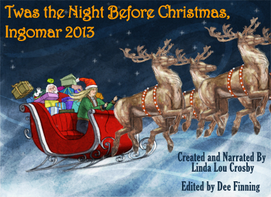 Illustration by Andy Atkins for The Night Before Christmas, Ingomar 2013, by Linda Lou Crosby, depicting Santa's sleigh and reindeer driven by Mae Ware.