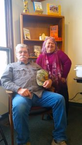 Hart Broesel and Connie Brown at Forsyth Independent Press office, Forsyth Montana