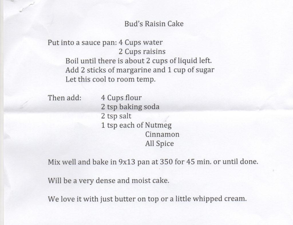 Bud's Raisin Cake recipe, Ingomar MT