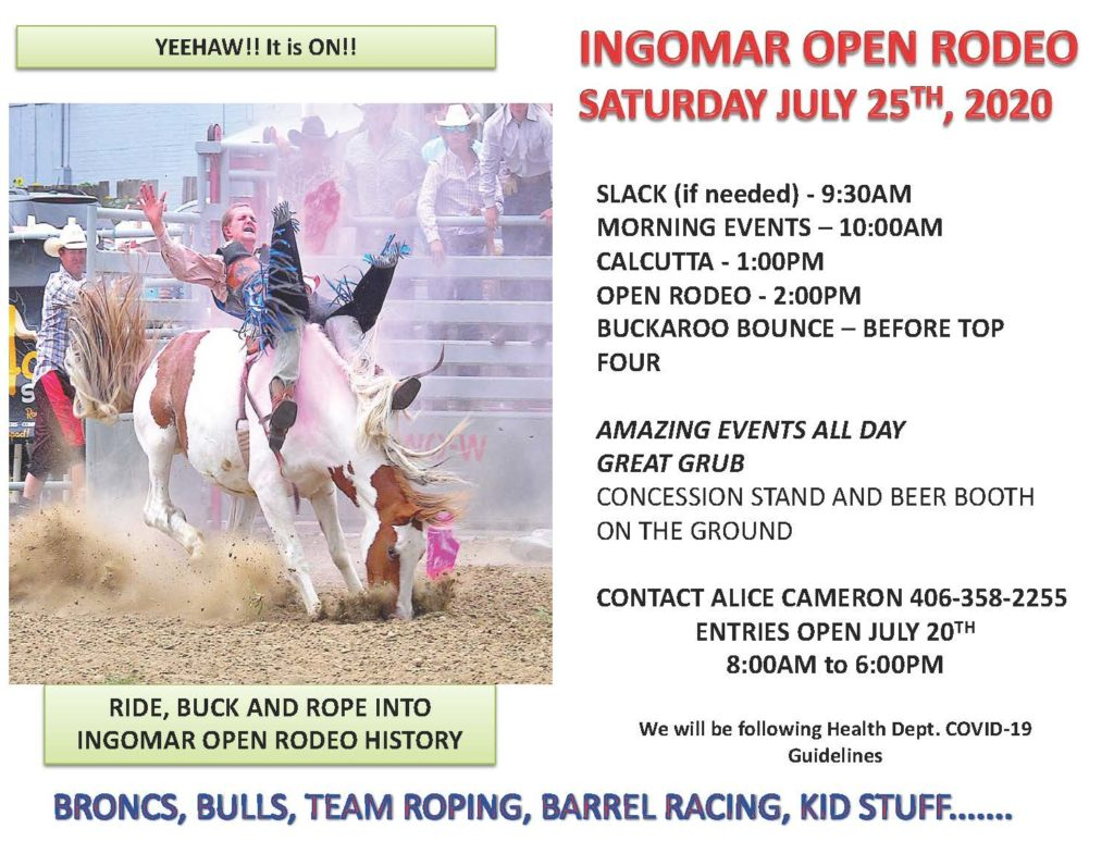 Ingomar Open Rodeo July 25, 2020 Event Flyer