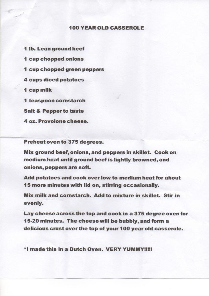 100 year old casserole recipe